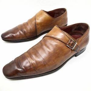 即決 MAGNANNI マグナーニ 37 24cm メンズ ブラウン 茶 モンクストラップ プレーントゥ フォーマル カジュアル 革靴 レザー シューズ 中古