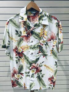 ビッグSale 【M】 アロハシャツ ALOHA 半袖 オープンカラー 開襟 レーヨン100% トロピカル 白 ハイビスカス 花柄 ハワイアン 新品 RB-09