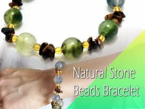 落ち着いた色合いのモスアゲート使用♪ 手作り 上品なクリアメノウ&タイガーアイ サザレミックス 天然石ブレスレット 数珠 18㎝
