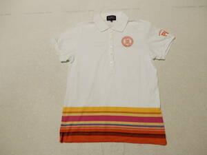 パーリーゲイツ PEARLYGATES♪白に裾はマルチカラーボーダー半袖ポロシャツ*サイズ1
