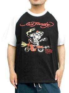 【新品】 3L ブラック エドハーディー Ed Hardy 半袖 Tシャツ メンズ 大きいサイズ デザイン プリント ラグラン クルーネック カットソー