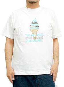 【新品】 4L ホワイトソフトクリーム Tシャツ メンズ 大きいサイズ 半袖 プリント デザイン クルーネック カットソーソフトクリーム