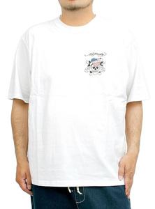 【新品】 6L ホワイト エドハーディー Ed Hardy Tシャツ メンズ 大きいサイズ 半袖 ロゴ デザイン バック プリント クルーネック カットソ