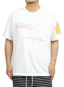【新品】 2L ホワイト96 半袖Tシャツ メンズ 大きいサイズ デザイン プリント クルーネック カットソー