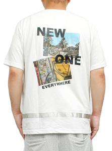 【新品】 2L ホワイト90 半袖Tシャツ メンズ 大きいサイズ デザイン プリント クルーネック カットソー