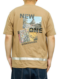 【新品】 2L ベージュ91 半袖Tシャツ メンズ 大きいサイズ デザイン プリント クルーネック カットソー