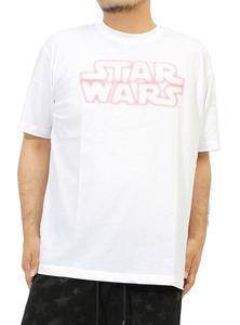 【新品】 3L ホワイト09 Star Wars(スターウォーズ) Tシャツ メンズ 大きいサイズ 半袖 ロゴ プリント クルーネック カットソー