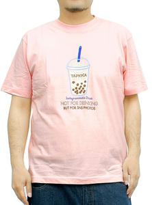 【新品】 4L ピンク Tシャツ メンズ 大きいサイズ 半袖 プリント デザイン クルーネック カットソー