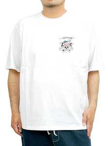 【新品】 4L ホワイト エドハーディー Ed Hardy Tシャツ メンズ 大きいサイズ 半袖 ロゴ デザイン バック プリント クルーネック カットソ