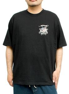 【新品】 3L ブラック エドハーディー Ed Hardy Tシャツ メンズ 大きいサイズ 半袖 ロゴ デザイン バック プリント クルーネック カットソ