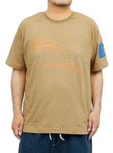 【新品】 2L ベージュ97 半袖Tシャツ メンズ 大きいサイズ デザイン プリント クルーネック カットソー