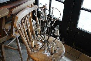 アンティーク 照明 シャンデリア 真鍮 ガラス フランス フレンチ シャビー 店舗にも 引掛シーリング