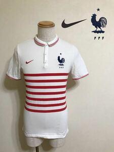 NIKE FRANCE ナイキ サッカー フランス代表 ボーダー 鹿の子 ドライポロシャツ トップス ホワイト レッド サイズM 170/88A 半袖 白赤