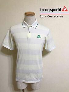 le coq sportif GOLF COLLECTION ルコック ゴルフ ボーダー メッシュ ドライ ポロシャツ トップス サイズL 半袖 白 薄黄色 デサント QG2584
