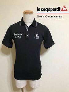 le coq sportif GOLF COLLECTION ルコック ゴルフ コレクション ドライポロシャツ ブラック トップス サイズM 半袖 黒 QG2787 デサント