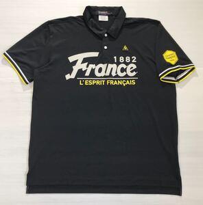 《le coq sportif GOLF ルコックゴルフ》ホワイトライン ロゴ刺繍 ビッグFranceプリント 半袖 ポロシャツ LL