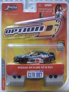 【新品:未開封】JADA Toys 1/64 Import Racer! OPTION D ニッサン スカイライン GT-R R34[SKYLINE GT-R]WAVE9/087