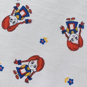 切売 92×50 子供柄 手作りマスク デッドストック 80's 昭和レトロ 生地 リメイク コレクター 布 ハンドメイド 女の子 ビンテージ ヘンテコ