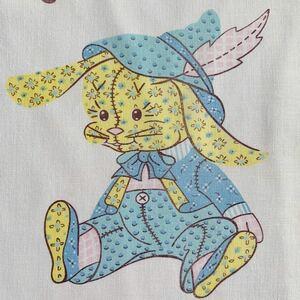 92.5×92 ぬいぐるみ柄 動物柄 生地 カーテンヴィンテージ 70's リメイク 雑貨 コレクター アンティーク ハンドメイド 小物作り 手作り 布