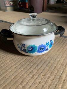 ホーロー鍋(両手鍋)  昭和 レトロポップ 花柄 ブルー 調理器具