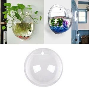 h728 透明金魚鉢タンク 3D アクリルウォールマウントぶら下げ水族館金魚ハンガー植物ステッカー装飾 15*15 センチメートル