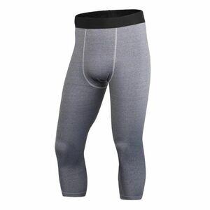 送料無料 新品 ランニングウェア 七分丈 タイツ メンズ Lサイズ グレー パンツ トレーニング スポーツ アウトドア 加圧 スパッツ