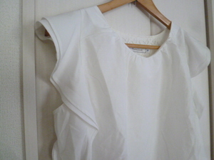 Couture brooch/クチュールブローチ○白2重フリル袖ブラウスカットソー38/ホワイト半袖トップスワールド○T615