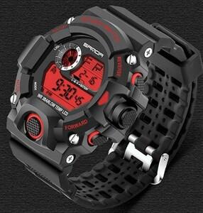 人気のRED!ビッグフェイス ダイバーズウォッチ 高級感 メンズ腕時計デジタル SANDA デジタル アウトドア スポーツ ミリタリー