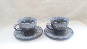 【アンティークカップ】『良品』 コーヒーカップ ソーサー アンティーク ペア 淡雪 粉雪 ・(管理)200429-0610-5