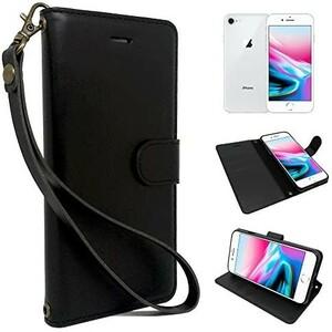 シズカウィル(shizukawill) iPhone 8 iPhone7 iPhoneSE(第2世代) 手帳型 黒色 PUレザー