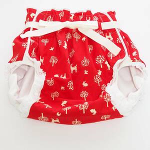 【新品】大人用おむつカバー L バンビ×ツリー(赤) レース×腰ひも フィラインベイビーズ/Feline Babies