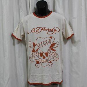 エドハーディー ED HARDY メンズ半袖Tシャツ Mサイズ M02SPR052 LOVE KILLS SLOWLY 新品 オレンジ