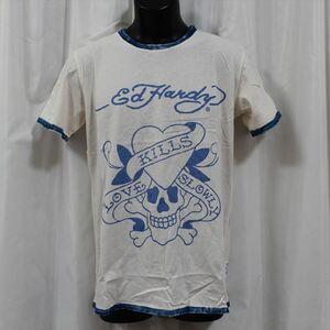 エドハーディー ED HARDY メンズ半袖Tシャツ Sサイズ サーフ M02SPR052 新品 ブルー LOVE KILLS SLOWLY