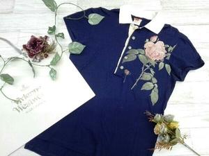 【お洒落/古着/薔薇/メンズ】Vivienne Westwood ヴィヴィアンウエストウッド 半袖ポロシャツ ネイビー 薔薇 デザイン