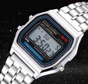 s459 レトロ調 スクエアデジタル腕時計 男性 女性 ビジネス電子時計 シンプルデザイン