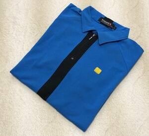 ☆ルコック ゴルフ☆半袖 ハーフジップ シャツ LL 青系 ポロシャツ QG1941
