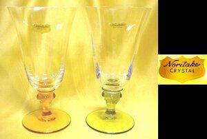 売切 稀少 廃盤品 ノリタケ NORITAKE クリスタルワイングラス ステム色変り 容量:180ml 2客組 未使用保管品、箱無し