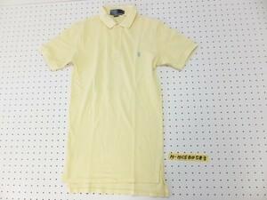 〈送料280円〉Polo by Ralph Lauren ラルフローレン メンズ ワンポイント刺繍 鹿の子 半袖ポロシャツ S 黄色