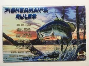 ブリキ看板20×30cm FISHERMAN'S RULES フィッシャーマンルール アメリカンガレージ看板 インテリア・アンティーク雑貨★TINサイン★