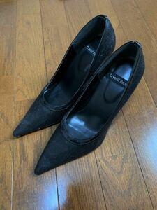 スパンコール/ハイヒール/ポインテッドトゥ/パンプス ブラック 黒 Lサイズ 24.5相当
