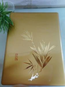 文箱 書道具 文具入 金色笹の葉絵柄 プラスチック製? 名入れあり  未使用品