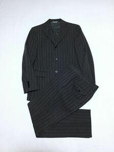 Donato Vinci ドナートヴィンチ // UOMO ITALY 背抜き (春夏) ストライプ柄 シングル スーツ (杢調チャコールグレー) サイズ 92Y5 (W76cm)