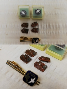 Japan folk song association badge collar chapter folk song large . tiepin