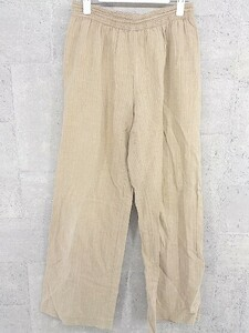 ◇ agnes b. アニエスベー リネン混 ストライプ ウエストゴム ワイド パンツ サイズ40 ブラウン系 レディース 1002800810024