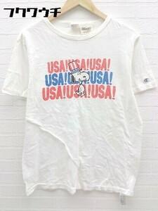◇ Champion × peanuts ランタグ復刻 コラボ 半袖 プリント Tシャツ カットソー サイズL オフホワイト メンズ