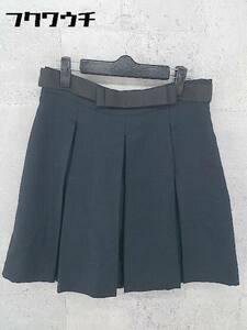 ◇ ◎ Ray BEAMS レイ ビームス ベルト付き サイドジップ ミニ プリーツ スカート サイズ1 ネイビー レディース