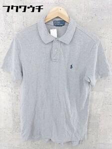 ◇ polo by ralph lauren ポロバイラルフローレン 鹿の子 ロゴ 刺繍 半袖 ポロシャツ サイズL グレー メンズ