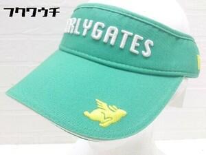 ◇ ●未使用● ◎ pearly gates パーリーゲイツ タグ付 刺繍 ロゴ サンバイザー 帽子 グリーン サイズM メンズ