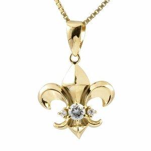 ネックレス メンズ ダイヤモンド イエローゴールドk18 ユリの紋章 ペンダント 18金 シンプル 人気 チェーン 男性用 百合 送料無料