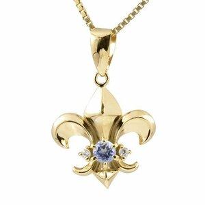 ネックレス メンズ タンザナイト ダイヤモンド イエローゴールドk18 ユリの紋章 ペンダント 18金 シンプル 人気 チェーン 男性用 送料無料
